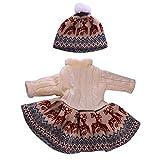 Sharplace Puppen Strick Winterkleid mit Hut, Puppen Kleidung Satz Für 18 Zoll Weibliche Puppen