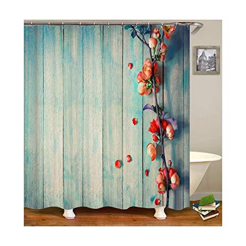 DOLOVE Polyester Duschvorhang Antischimmel Waschbar Vintage 180X180 cm Blume Anti-Schimmel Duschvorhang