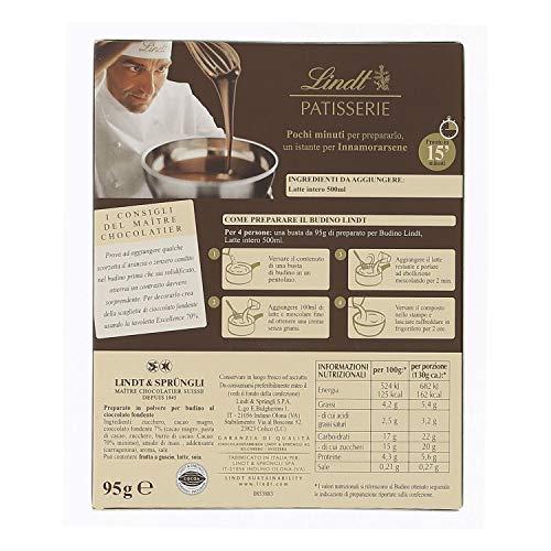 Lindt Pudding Mischung Dunkel 70%, feinste dunkle Chocolade, 4 Portionen, 1er Pack (1 x 95 g)