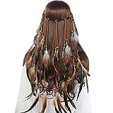 Tocado de plumas Boho Hippie Diadema - Elegante tocado de plumas Bohemia Borla para mujeres Niñas Carnaval Tocado(Caqui)