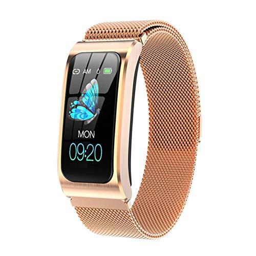 Smart Bracelet AK12 Men Women Heart Rate Band Sleep Monitor Blood Pressure Fitness Tracker Waterproof Color Screen Sports Watch (Color : GOLD STEEL)