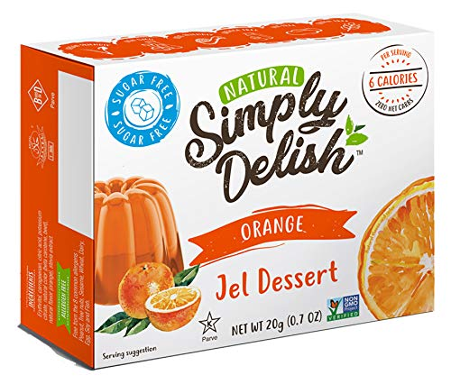Simply Delish Natural Orange Jel Dessert - Sugar Free, Non GMO, Gluten Free, Fat Free, Vegan, Keto Friendly - 0.7 OZ (Pack of 6)