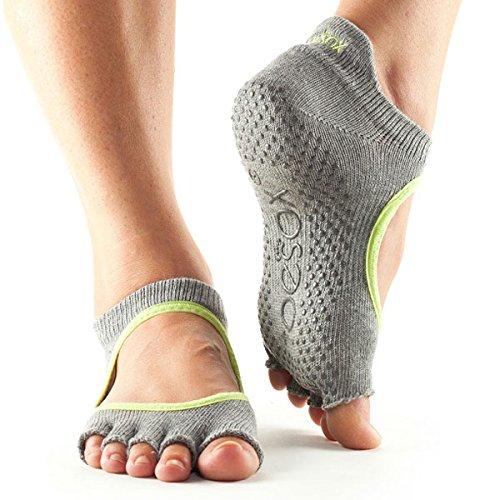 Toe Sox Chaussettes - pour Le Yoga - pour Homme et Femme - Orteils Ouverts M Gris (chiné) / Vert (Citron).