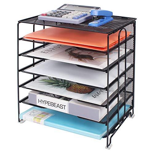 Univivi Mesh Desk Organizer, 6-Tier Metal Desk Accessories, Desktop Organizer for Home Office Accessories/Screws Free Design,Black… Indiana