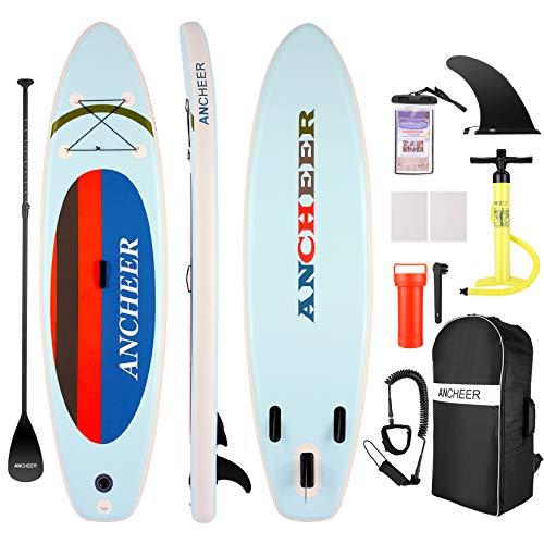 ANCHEER Tabla de Paddle Surf Inflable, Tabla de Paddle Surf Inflable para Todo Terreno, Tabla iSUP con Plataforma de EVA Antideslizante, Bomba de Mano, Paleta Ajustable, Mochila Grande