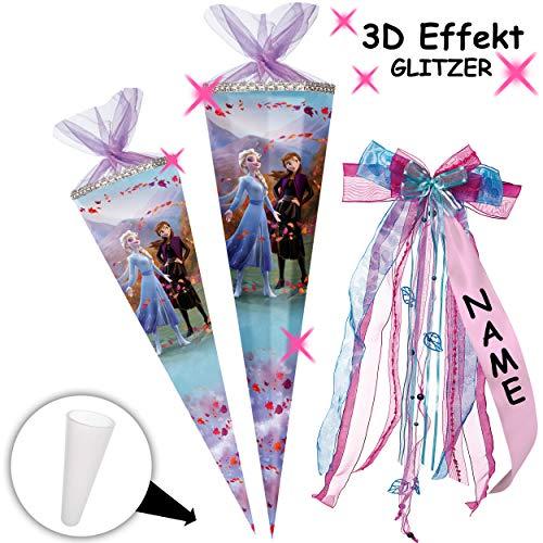 alles-meine.de GmbH mit _ 3D Effekt - Glitzer ! _ Schultüte - Frozen - Disney die Eiskönigin - 85 cm - 12 eckig - incl. individueller _ großer Schleife - mit Namen - Organza Absc..