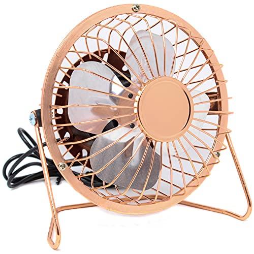 Selldorado 1 ventilador USB – Miniventilador portátil con 4 cuchillas de aluminio para un flujo de aire fuerte – Ventilador USB con cabezal giratorio de 180 grados en oro rosa.