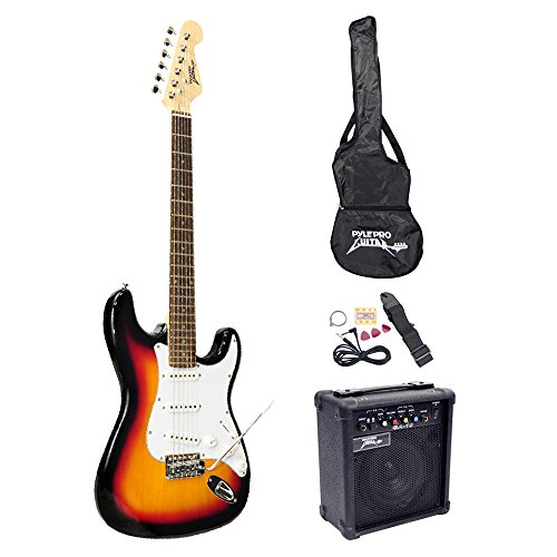 PylePro Full Size Electric Guitar Package w/Amp, Case & Accessories, Electric Guitar Bundle, Beginner Starter Package, Strap, Tuner, Pick, Ready to Use Out of the Box, Sunburst (PEGKT15SB)