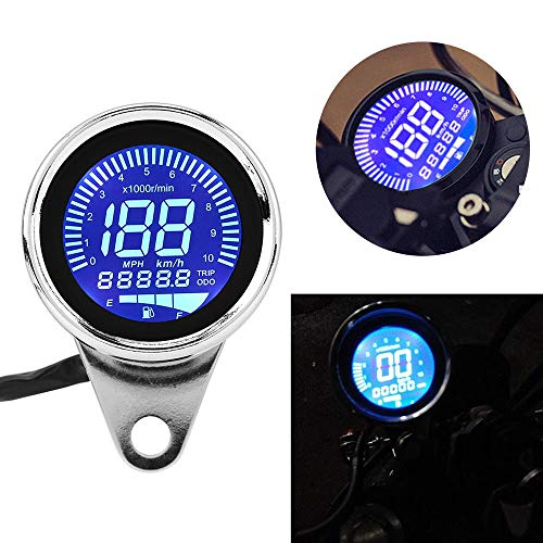 H-come Universal Motorcycle Odometer LCD Digital Speedometer Tachometer Gauges with Night Light Fit for Most Popular 12V Motorbike
