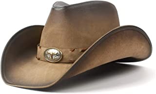 XueQing Pan Retro Leather Men Cowboy Hat For Men Women Western Dad Jazz Hat With Bull Head Cowgirl Sombrero Caps