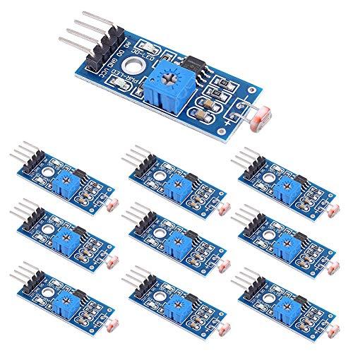 WayinTop 10 Stücke 4 Pin Fotowiderstand Sensor Lichtsensor Lichtdetektor Modul mit Digitalem Ausgang für Arduino für Raspberry Pi