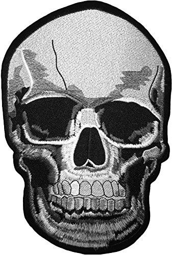 [Größe] papapatch Realistische Skull Dead Head Skelett Knochen Biker Motorrad Chopper Jacke Weste Kostüm bestickt Nähen auf Eisen auf Patch (iron-real-skull-large)