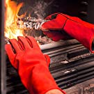 NoCry Fire Proof Welding Gloves; Also Suitable for BBQ & Grilling, Fire Pit, Pizza Oven, Forging and More; Premium Heat Resistant Cowhide Leather; Long 14 inch Forearm Protection; Red, Size Large #2