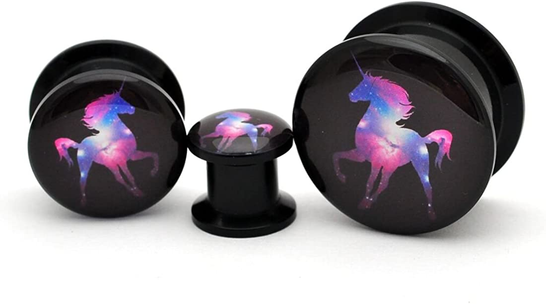 Mystic Metals Body Jewelry Black Acrylic Galaxy Unicorn Picture Plugs - Sold as a Pair