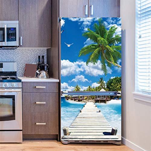 Pegatina Para Nevera Con Paisaje, Planta Tropical, Arte En La Playa, Cubierta Para Puerta De Nevera, Accesorios De Papel Tapiz De Cocina 60*180cm DF-09