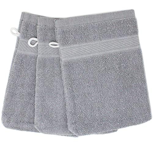 Selldorado® 3 manoplas de baño en color gris – como manopla de baño y toalla de mano versátil en la aplicación – Manopla de baño de rizo (03 gris)