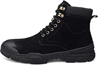 Xujw-shoes store, 2019 Mens New Lace-up Flats Ankle Boot for Men Work Booties Lace up Genuine Leather Round Toe Stitch Contrast Collar Durable Comfortable Anti-Collision Toe(Fleece Lined Optional)
