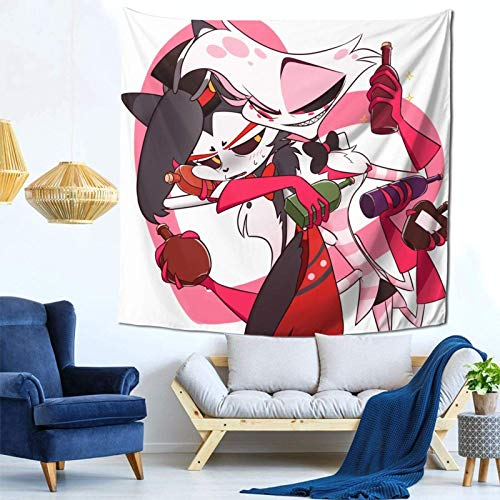 huatongxin Hazbin Hotel Alastor and Angel Dust HD Printing Wall Hanging Tapiz for Dorm, Bedroom, Livingroom Decor 59x59 Inch