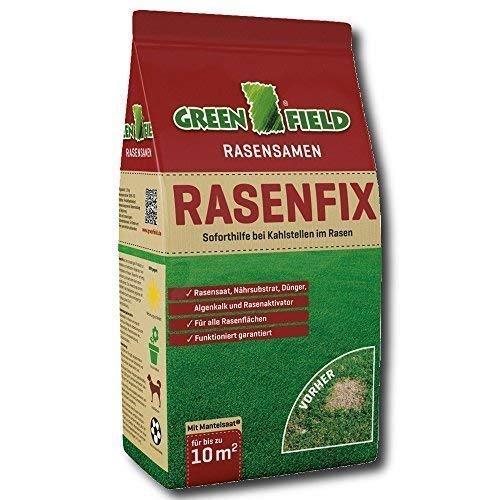 Greenfield Rasenfix 1,5 kg Semences de Pelouse Aide d'urgence en Cas de Instantanée avec Taches Chauves pour 10 M²