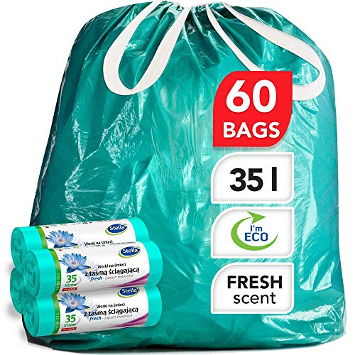 Stella Bio Müllbeutel - 35 L - 60 Stück - Umweltfreundlich und recycelbar - Mülltüten aus Kunststoffabfällen - Ultra-Starke und Flexible Müllsäcke - Frischer Duft und Minzfarbe - mit Zugband