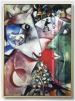 マルクシャガール表現主義キャンバスプリントキャラクター絵画抽象的な壁アート印象派のポスターリビングルームの家の装飾40x60cmフレームなし