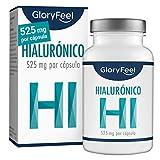 GloryFeel Àcido Hialurónico puro 525mg altamente concentrado - 90 Cápsulas veganas - Probado en laboratorios - Sin aditivos y fabricado en Alemania