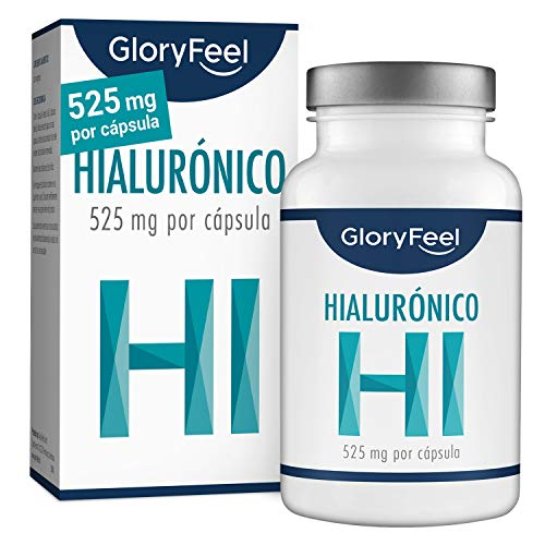 GloryFeel® Àcido Hialurónico puro 525mg altamente concentrado - 90 Cápsulas veganas - Probado en laboratorios - Sin aditivos y fabricado en Alemania
