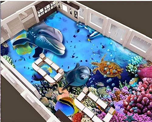 Papel pintado autoadhesivo de pvc papel tapiz de baldosas de vinilo personalizado mundo submarino peces tropicales suelo 3d papel tapiz impermeable-400 * 280cm
