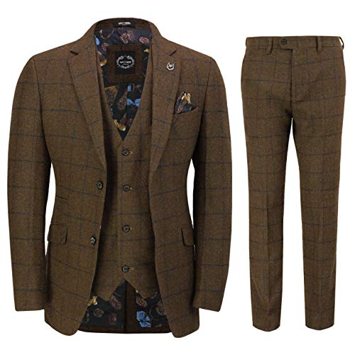 Xposed Männer Tweed 3 Stück Anzug Braun Herringbone Blau prüfen Retro Peaky Blinders Maßgeschneidert[SUIT-X6680-1-TAN-52]