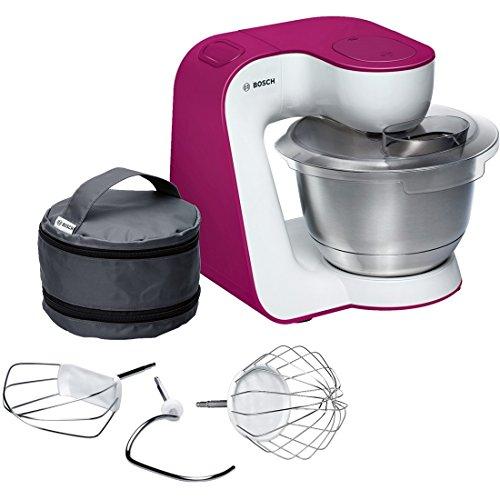 Bosch MUM5 StartLine Küchenmaschine MUM54P00, vielseitig einsetzbar, große Edelstahl-Schüssel (3,9l), Patisserie-Set aus Edelstahl, spülmaschinenfest, 900 W, weiß/pink