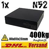 Neodym Magnet 80x80x20mm 8x8x2cm 400kg Zugkraft N52 Hochleistungsmagnet Epoxy beschichtet schwarz