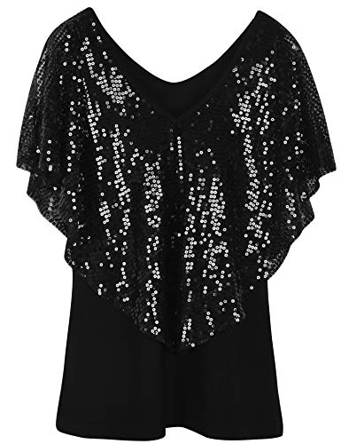 PrettyGuide Women's Cold Shoulder Tunic Tops Sequin Cape Shimmer Bodycon Cocktail Party Top XL Black