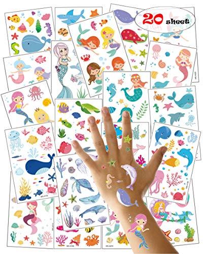 20 Hojas Tatuajes temporales Sirena para niños niñas favores de Fiesta Infantiles cumpleaños Regalos piñata Juguetes de Fiesta Bolsas de Relleno para niños…
