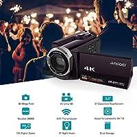 HDV-534K 4K 48MP WiFiデジタルビデオカメラ(2個入り)NP-FV5 Plus 3.7V2000mAhカメラバッテリー1080PフルHD3インチ静電容量式タッチスクリーンIR赤外線ナイトサイトサポート16倍ズーム顔検出