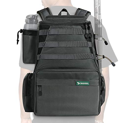 Rodeel Fishing Tackle Mochila 2 soportes para caña de pescar, almacenamiento grande, mochila para pesca de trucha, deportes al aire libre, camping, senderismo