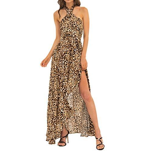 Frauen Leopardenmuster Kleid sexy hängenden Hals Taille Split Abendkleid Sommer ärmellose Lange Mode Strandrock Sonojie