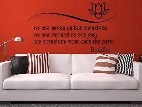 Wall Decals Quotes Vinyl Sticker Decal Quote Lotus Flower Buddha No one Saves us but Ourselves Home Decor Art Bedroom Design Interior C37