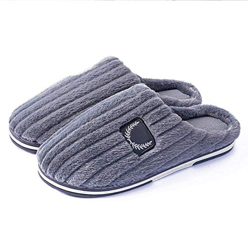 XIUYU Herren Cozy Memory Foam Slippers Pure Color Home Interior Non-Slip Cotton Herbst und Winter Baotou Non-Slip-Plüsch-Baumwolle Hausschuhe in Übergrößen (Color : Grey, Size : 47)