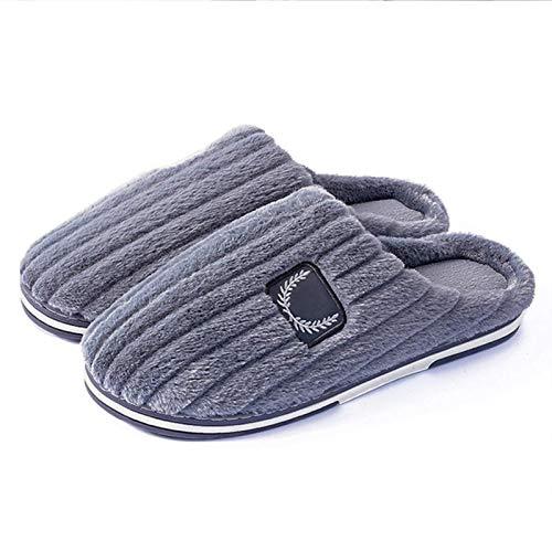 XIUYU Herren Cozy Memory Foam Slippers Pure Color Home Interior Non-Slip Cotton Herbst und Winter Baotou Non-Slip-Plüsch-Baumwolle Hausschuhe in Übergrößen (Color : Grey, Size : 51)