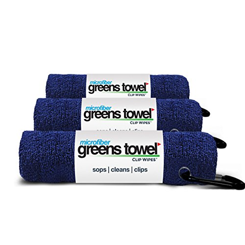 3 Pack of Navy Blue Microfiber Golf Towels