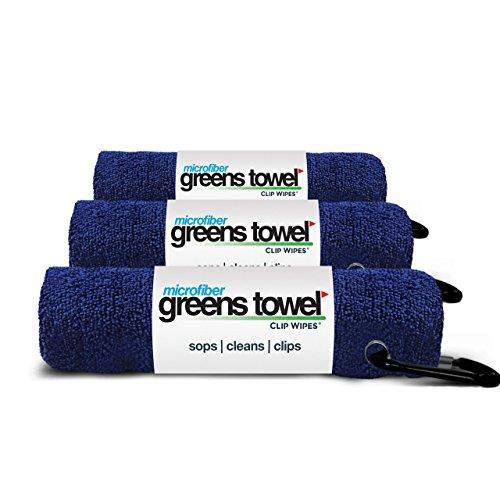 grünen Handtuch Mikrofaser Golf Handtuch mit Karabiner Clip, 3er Pack, Classic Navy