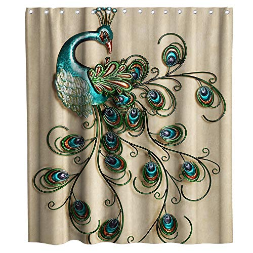 Peacock Shower Curtain Colorful Animal Ornamentation Theme Fabric Bathroom Decor Sets with Hooks Waterproof Washable (70W×70L)