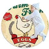 Alfombra Suave Redonda 80x80cm/31.5x31.5IN Alfombrillas Circulares Antideslizantes para el Suelo Alfombrilla para pie de Esponja Absorbente,Huevo de gallina de Dibujos Animados