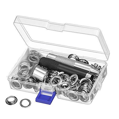 Grommet Werkzeug Kit, Tülle Ösen Scheiben Ösenzange Set und 100 Sets 12 mm Grommet Ösen mit für Planen Leder Stoff Vorhang Poolabdeckung
