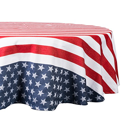 DII Stars & Stripes Tabletop Collection Machine Washable, 100% Cotton, for Everyday Use, Special Occasions, Barbeques, Picnics and Family Dinners, Tablecloth, 70