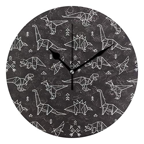 Butty Runde Dinosaurier Origami Wanduhr - Ticking Digital Quiet Sweep Clock, dekoratives Büro Wohnzimmer Schlafzimmer, 10 Zoll