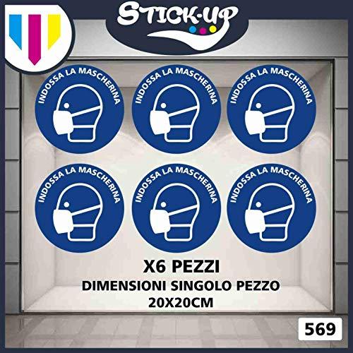 Stick-up Stickers Kit bollini Adesivi RIPOSIZIONABILI Mascherina Covid19-20x20 cm - Adesivo plastificato per Esterni e Interni.Etichette adesive (6)