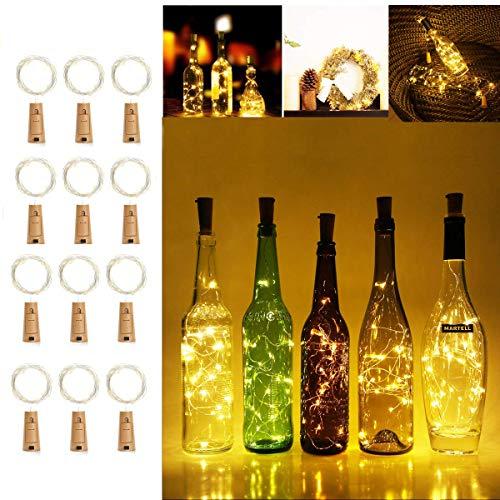 12 Stück LED Flaschen Licht Flaschenbeleuchtung Weinflaschen Lichter 2M 20er LED Kork Lichterkette Flaschenlicht Sternenlicht für DIY Party,Weihnachten, Halloween