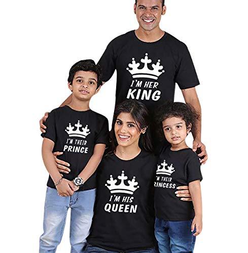 Camisetas King Queen Princess Familiares Camiseta Familiar Padre Madre Hijo Mama Papa Hija Camisetas Estampadas para Familia Personalizadas Camisas Manga Corta Hombre Mujer Niño Niña Negro 140/9-10T