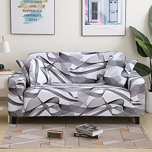 Funda de sofá geométrica elástica para Sala de Estar, sofá de Esquina seccional Moderno, Funda Protectora para sofá, Protector de Silla A9, 2 plazas
